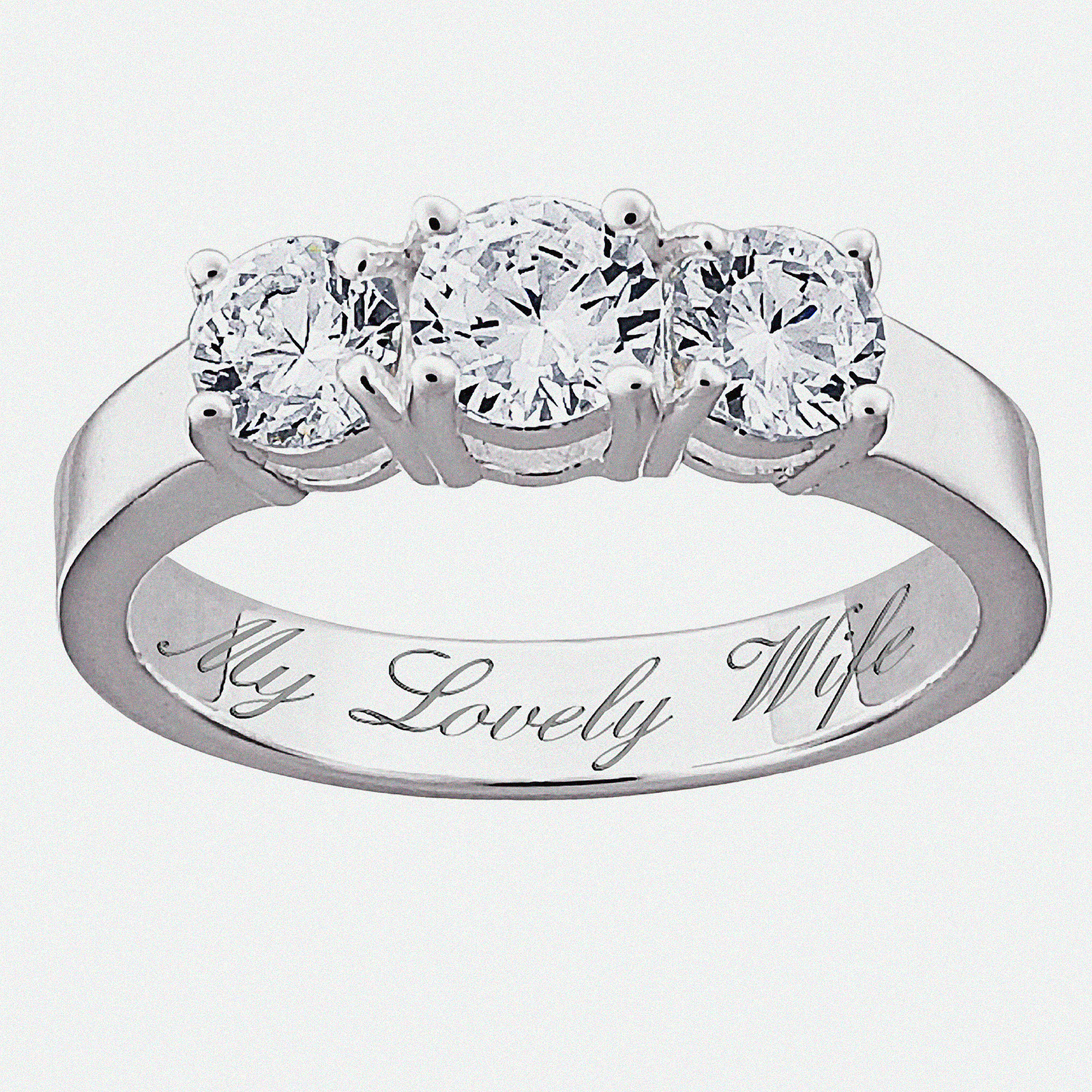 Personalized Sterling Silver CZ Trio Promise & Engagement Ring