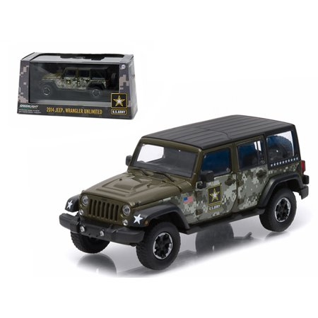 2014 Jeep Wrangler Unlimited U.S. Army Hard Top Dark Green With Display Showcase 1/43 Diecast Model Car by