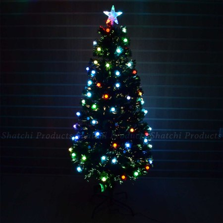6ft Christmas Tree Fiber Optic Pre Lit Xmas With Berry Led Lights