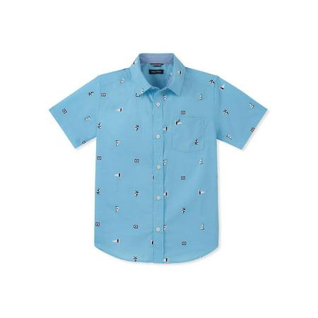 Boy's Elijah Short-Sleeve Flag Graphic Collared Shirt - Nautica Hawaiian Shirt