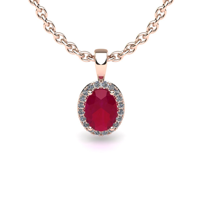 1 3 4 Carat Oval Shape Ruby and Halo Diamond Necklace In 14 Karat Rose Gold With 18 Inch Chain by SuperJeweler
