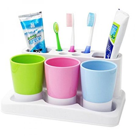 . Tonze Plastic Bathroom Toothbrush Tooth Paste Stand Holder Storage Rack Box  Set