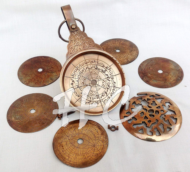"Vintage Antique Brass Astrolabe 4 /""Arabic Globe Navigation Astrological Calendar"