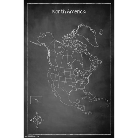 Trends International North America Chalk Map Wall Poster 22.375