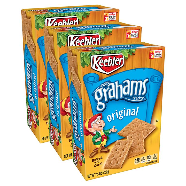 (3 Pack) Keebler Original Graham Crackers, 15 oz