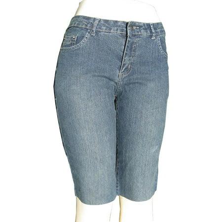 Womens Dk. blue Stretch capri shorts (12