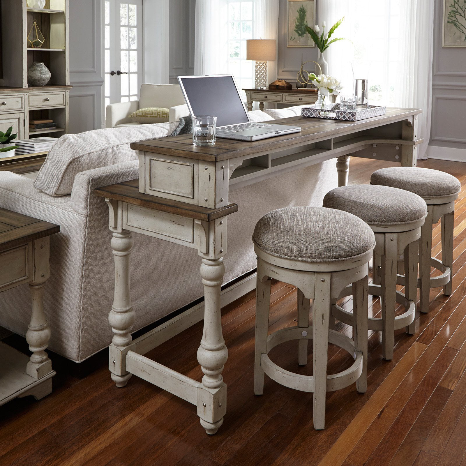 Liberty Furniture Industries Morgan Creek Console Table With Stools
