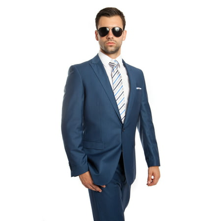 Mens Suit Two Piece One Button Peak Lapel Solid Suits (New 46s Mens Suit)