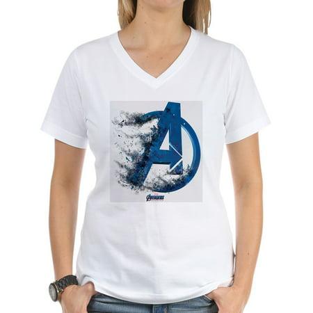 CafePress - Blue/Black Avengers Endgame Women's V Neck T Shirt - Womens Cotton V-Neck T-shirt - Women Avengers