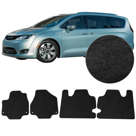 Fits 17-18 Chrysler Pacifica Floor Mats Black Carpet Front Rear 4PCS -