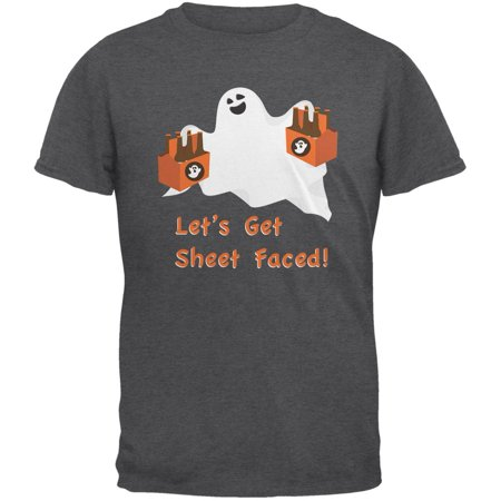 Halloween Ghost Sheet Faced Dark Heather Adult T-Shirt (Halloween Division Sheets)
