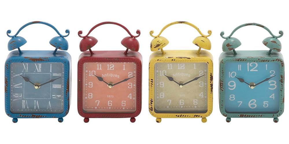 4-Pc Distressed Desk Clock Set by Benzara Inc