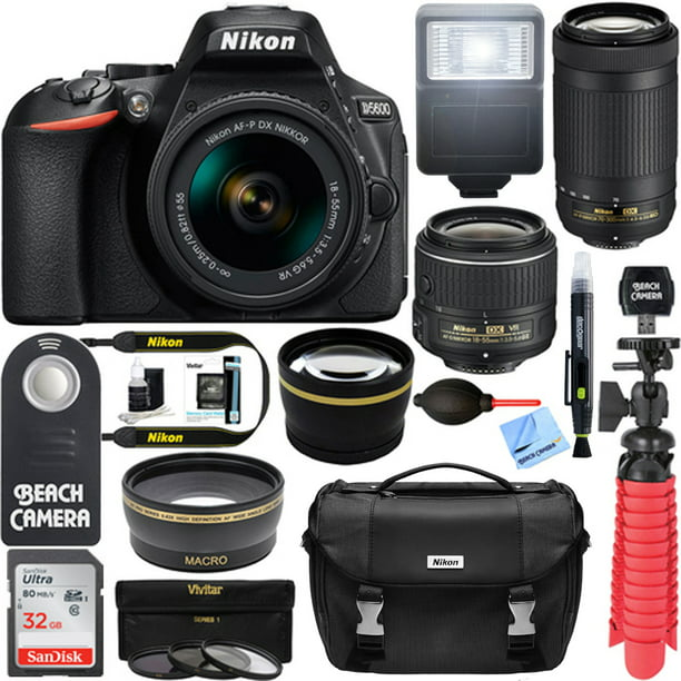 Nikon D5600 24.2MP DSLR Camera AFP 18-55mm VR, 70-300mm ED Lens Bundle incl Camera, Lenses, Nikon Gadget Bag, 32GB Card, Deco Gear Tripod & Lens Pen, Beach Camera Remote, Card Reader & Cleaning Cloth