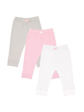 Luvable Friends Toddler Girls Tapered Jogger Pants, 3-Pack (Sizes 2T-5T)