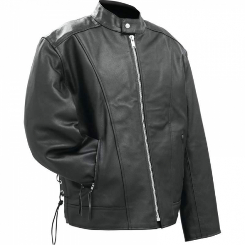 Rocky Mountain Hides Solid Genuine Buffalo Leather Motorcycle Cruiser Jacket- M