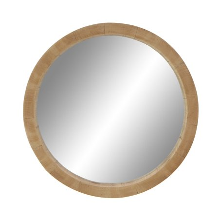 Decmode 24 Inch Rustic Wooden Round Wall Mirror Brown