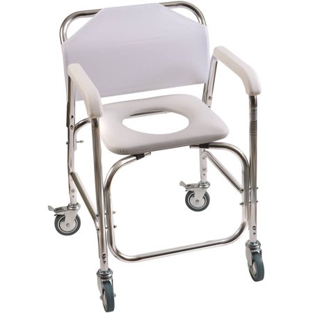 DMI Rolling Shower Transport Chair with Padded Toilet Seat, White ...