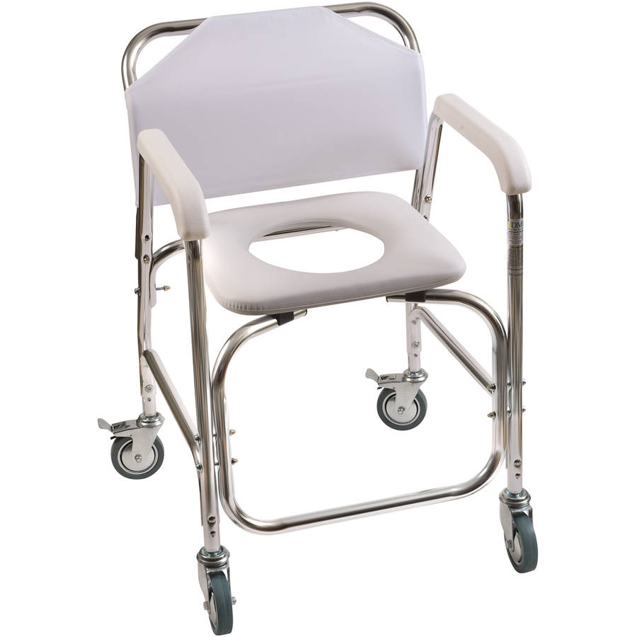 dmi rolling shower transport chair with padded toilet seat white