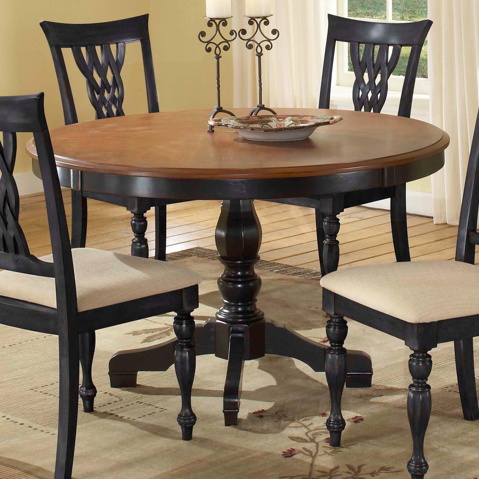 Hillsdale Embassy Round Pedestal Table With 48 Inch Pattern Veneer Wood Top Cherry Amp Black Walmart Com Walmart Com