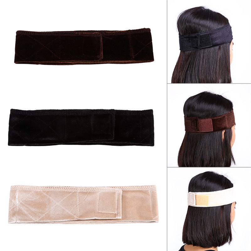 Fdit Flexible Velvet Wig Grip Scarf Head Band Adjustable Fastern Accessory 3 Colors