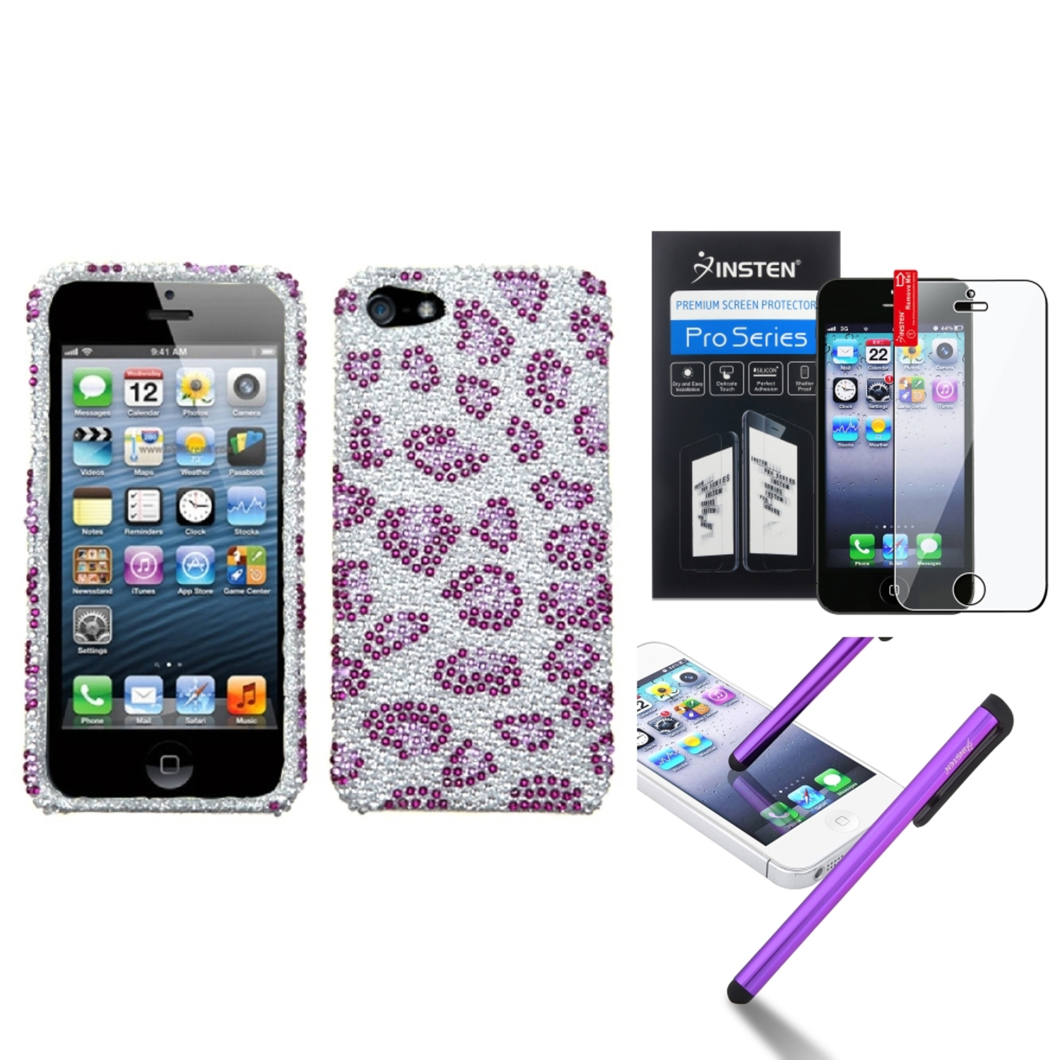 Insten Leopard Skin/Purple Diamond Case Bling Hard Cover For iPhone 5 5s Pen Film