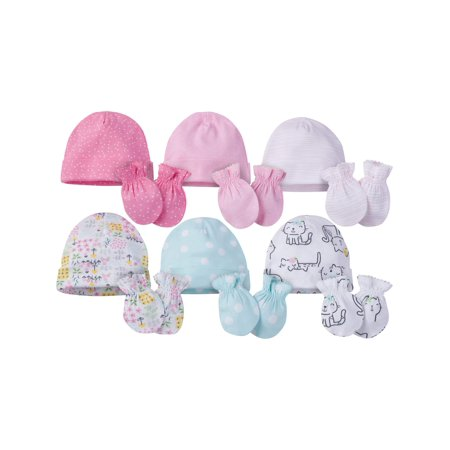 Onesies Brand Caps and Mittens Accessories Set, 12pk Bundle (Baby Girls) ()