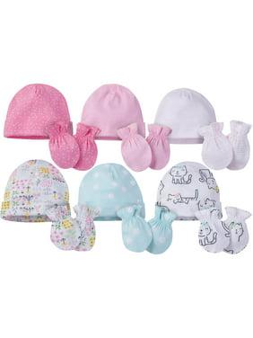 Onesies Brand Caps and Mittens Accessories Set, 12pk Bundle (Baby Girls)