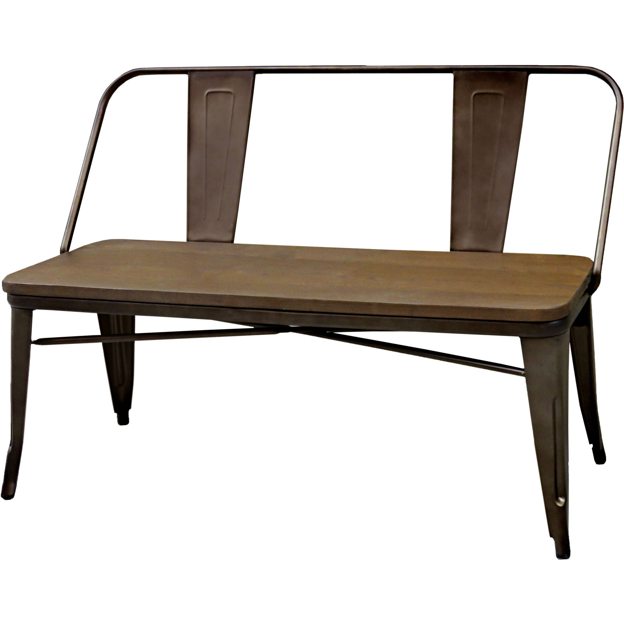Furniture of America Fredrick Industrial Dining Bench, Natural Elm