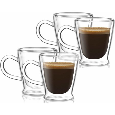 Circleware 2.6 oz Thermax Set of 4 Double-Wall Insulated Glass Espresso Mugs