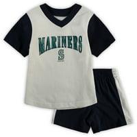 Seattle Mariners Toddler Little Hitter V-Neck T-Shirt & Shorts Set - White/Navy