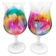 Hand-painted Multicolor Glassware (Set of 4) Bulb Wine Glass 13.75 Ounces