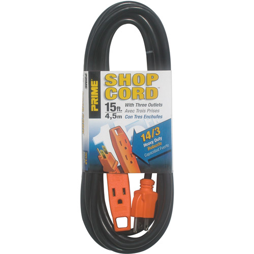 Prime Wire 15-Foot 14/3 SJT 3-Outlet Indoor Shop and Utility Extension Cord
