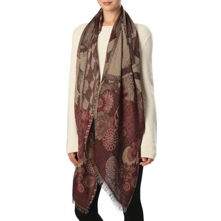 - Womens Mixed Floral Pattern Oblong Scarf