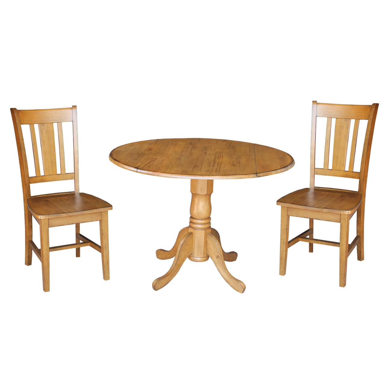 "42"" Dual Drop Leaf Table and 2 San Remo Chairs in Pecan - 3 Piece Set"