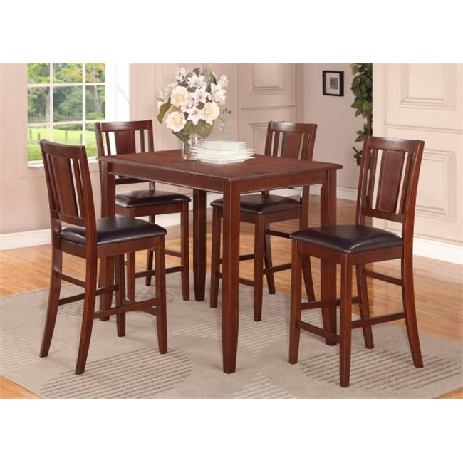 East West Furniture BUCK5-MAH-LC 5 -Piece Buckland Counter Height Table 30 in. x48 in. & 4 Stools with Faux Leather seat in Mahogany Finish