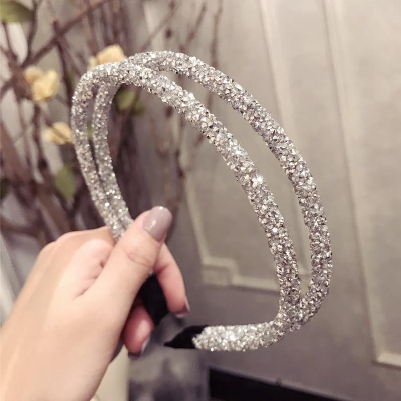 Details about  /Women Head Hoop Rhinestone Beaded Hairbands Fashion Crystal Headband Accessories