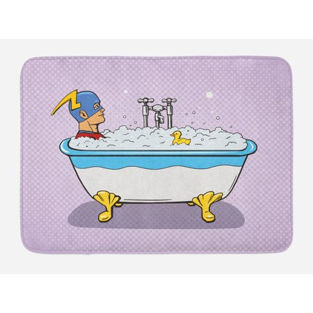 Comics Bath Mat, Superhero Fast Furious Relaxing in Bubble Bath Shower with Rubber Duck Art Print, Non-Slip Plush Mat Bathroom Kitchen Laundry Room Decor, 29.5 X 17.5 Inches, Multicolor, Ambesonne - Rubber Duck Clip Art