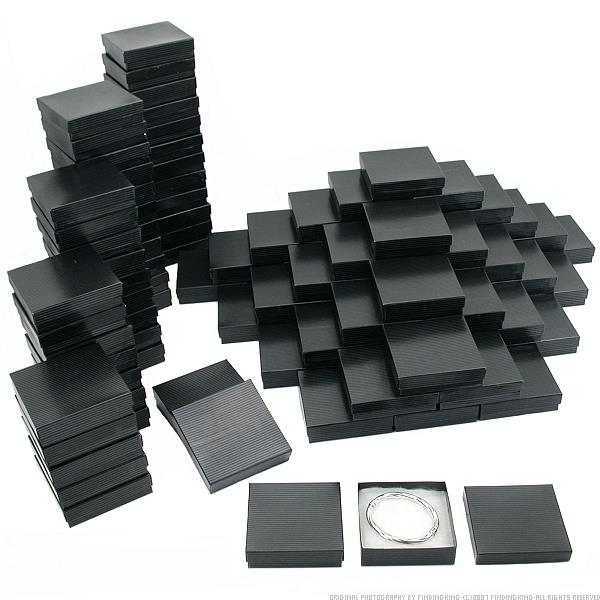 100 Black Pinstripe Cotton Filled Jewelry Gift Box 3.5""
