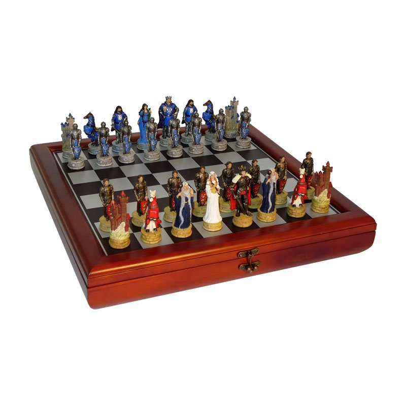 King Arthur's Court Painted Resin Chess Set with Cherry Chest by World Wise Imports