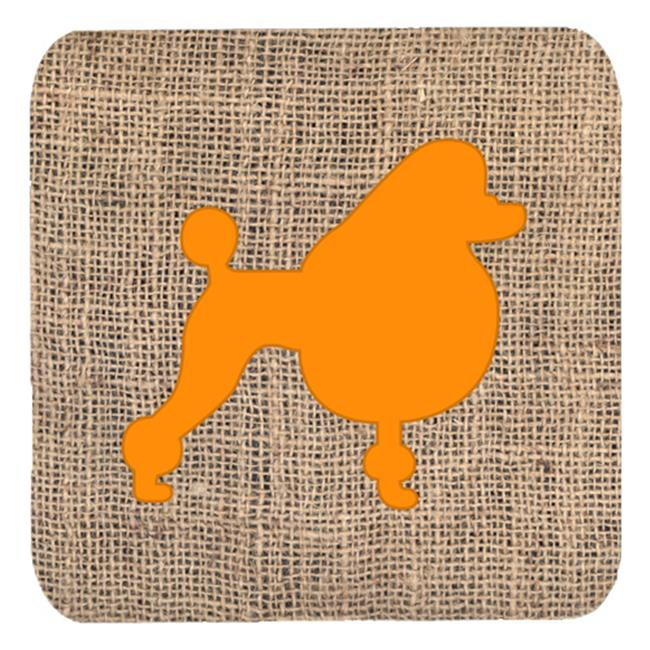 Carolines Treasures BB1072-BL-OR-FC Poodle Burlap And Orange Foam Coasters - Set 4, 3.5 x 3.5 In. - image 1 de 1