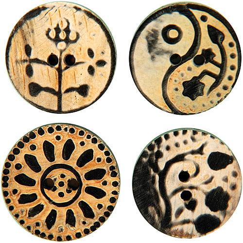 Handmade Horn Buttons, Circle Flower Carvings 4-Pack