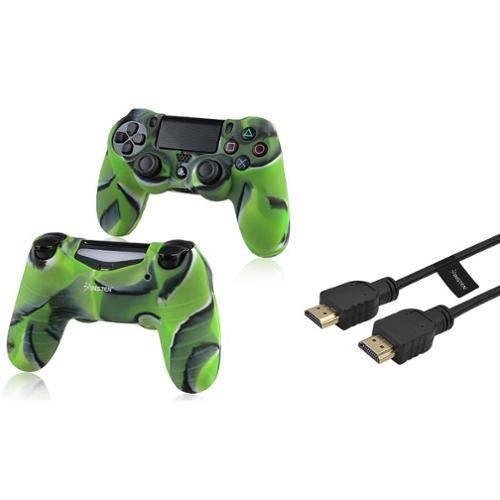 Insten Black 6FT M\/M High Speed HDMI Cable+Camouflage Navy Green Case for Sony PS4 Playstation 4
