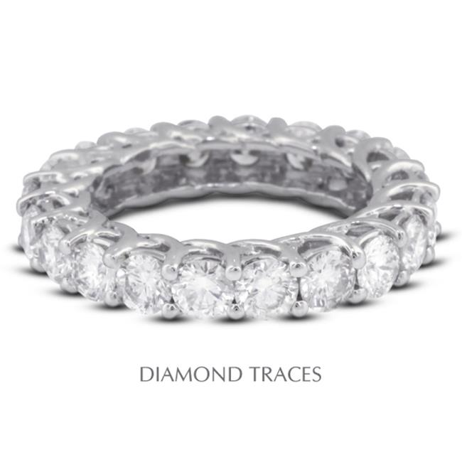 Diamond Traces UD-EWB418-9093 18K White Gold 4-Prong Setting 3.16 Carat Total Natural Diamonds Trellis Eternity Ring - image 1 of 1