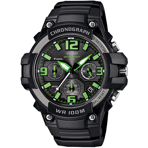 Casio Men's Rugged Chronograph Watch, Black/Green