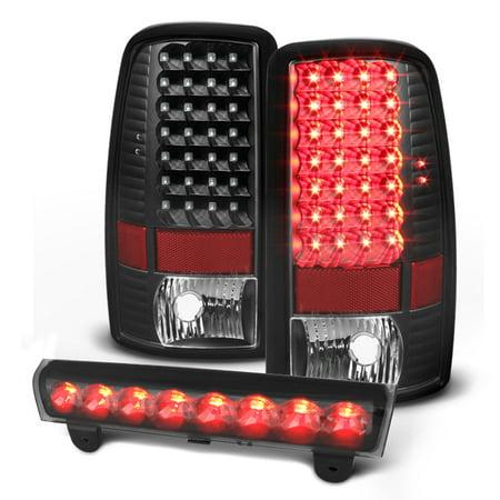 For 00-06 Chevy Suburban Tahoe GMC Yukon LED Black Tail Lights + 3rd Brake Light