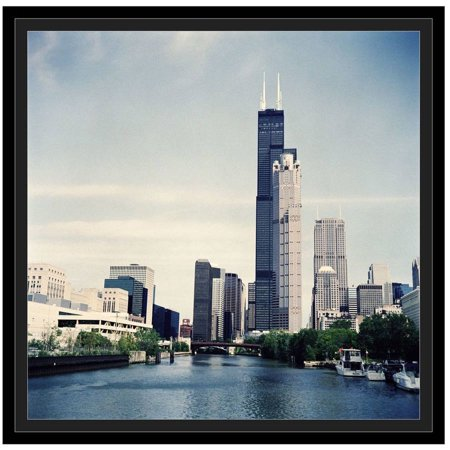 Skyline Framed (Illinois, Chicago, Skyline With Sears Tower And Chicago River by Eazl Black Framed Premium Gallery Wrap)