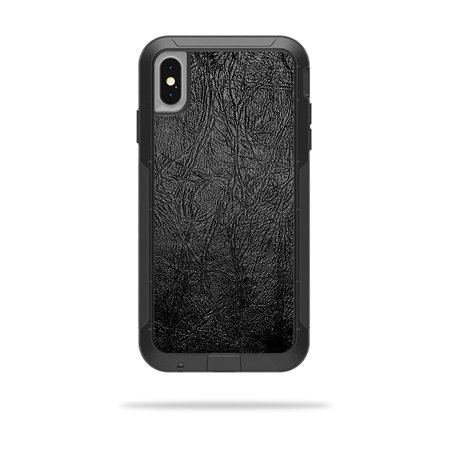 Pursuit Leather (Skin for OtterBox Pursuit iPhone XS Max Case - Black Leather | Protective, Durable, and Unique Vinyl Decal wrap cover | Easy To Apply, Remove, and Change Styles )