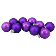 "10-Piece Shiny and Matte Purple Glass Ball Christmas Ornament Set 1.5"" (45mm)"