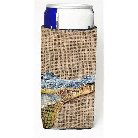 Lime Garter (Alligator On Faux Burlap Michelob Ultra bottle sleeves For Slim Cans - 12 oz. )