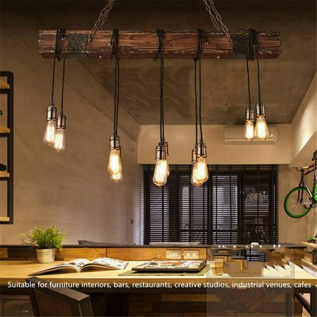 46\'\' 110V Rustic Farmhouse Furniture Wood Beam Chandelier Pendant Lighting  Fixture Kitchen Dining Room Bar Hotel Industrial Decor(10 Bulbs not ...